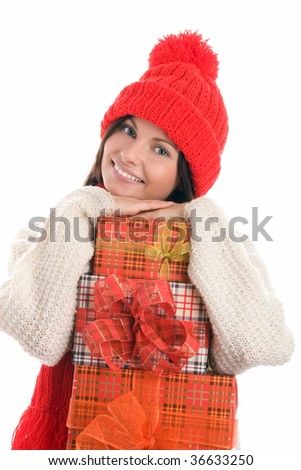 Portrait of pretty young woman with gifts smiling isolated on white background