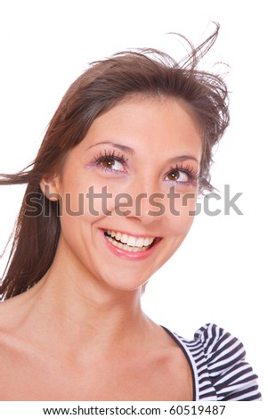 Portrait of pretty young woman with straight long hair - stock photo