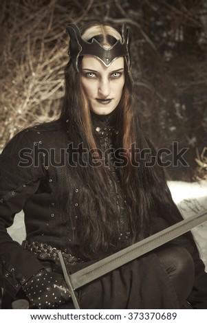 Portrait of princess fighter - stock photo