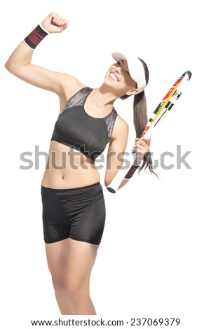 Portrait of Professional Caucasian Tennis Player Excited With Racket showing emotional Exclamation.Isolated over white background. Vertical Image - stock photo