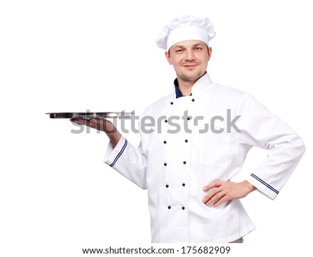 Portrait of professional chef holding empty tray, isolated on white - stock photo