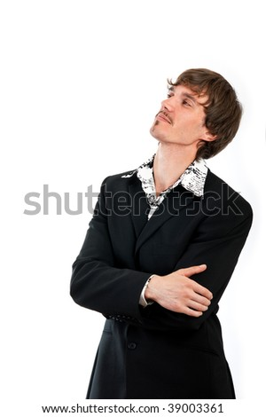 Portrait of proud businessman is isolated against white background - stock photo