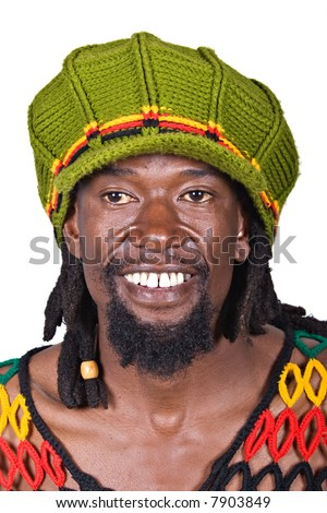 portrait of rasta man with green hat - stock photo