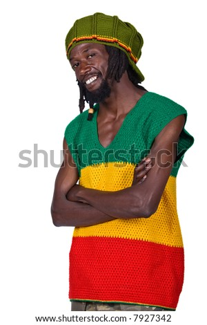 portrait of rasta man with traditional clothes - stock photo
