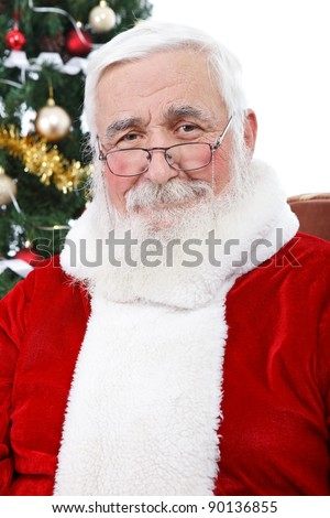 portrait of real Santa Claus with gray hair without hat, isolated on white background - stock photo
