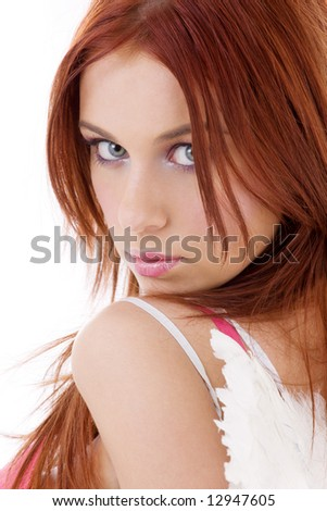 portrait of redhead angel girl over white - stock photo
