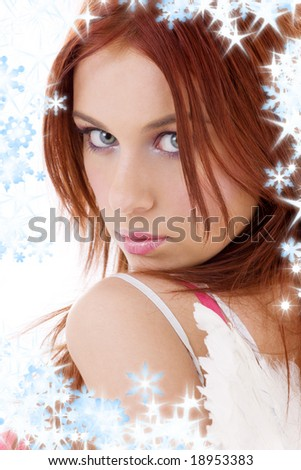 portrait of redhead angel girl with snowflakes - stock photo