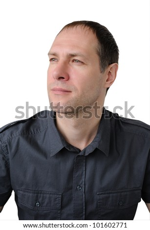 Portrait of romantic, attractive man isolated on white - stock photo