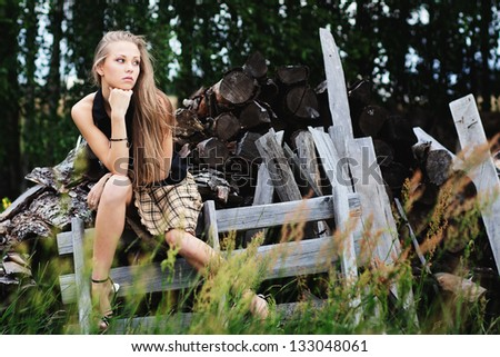 Portrait of romantic woman at fairy forest - stock photo