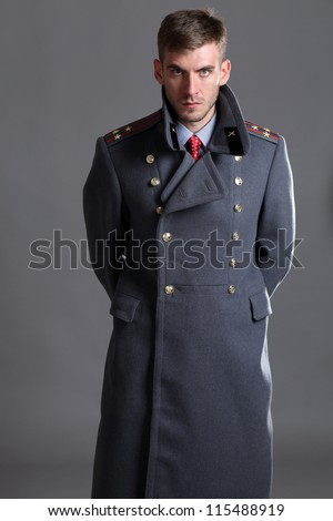 portrait of Russian military officer in greatcoat - stock photo