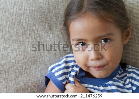 portrait of sad and unhappy girl, showing negative feeling or expression - stock photo