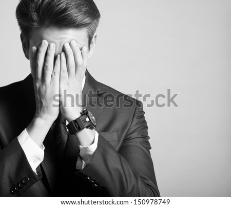 Portrait of sad, depressed man  - stock photo