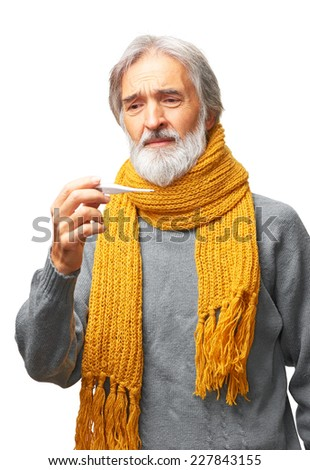 Portrait of sad disappointed ill mature man with gray beard and yellow scarf looking at a thermometer isolated on white background - stock photo