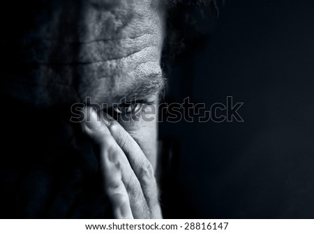 portrait of sad men - stock photo