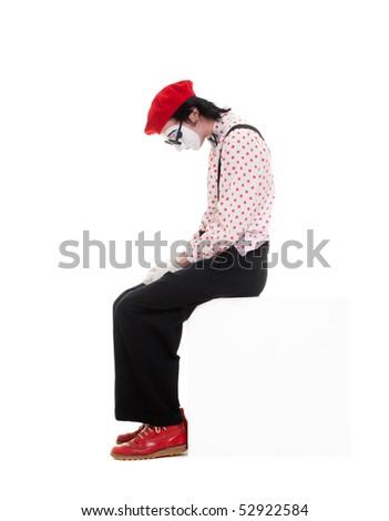 portrait of sad mime. isolated on white background - stock photo