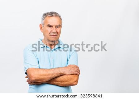 Portrait of sad senior man.Sad senior man - stock photo