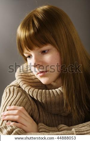 Portrait of sad teenage girl - stock photo