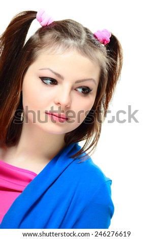 Portrait of sad young lady looking to the side on white background - stock photo
