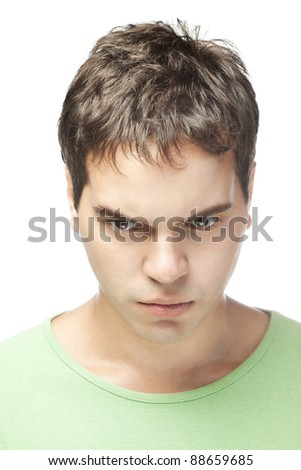 portrait of sad young man isolated on white background - stock photo