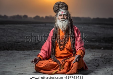 Portrait Of Sadhu Baba Nondo Somendrah Varanasi India