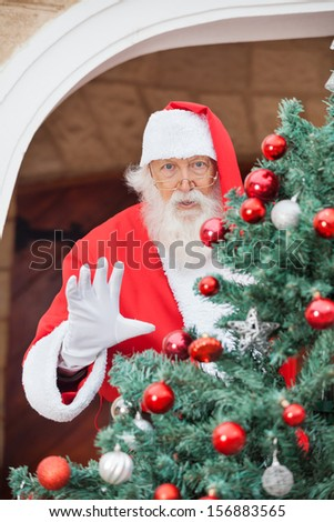 Portrait of Santa Claus gesturing from Christmas tree - stock photo