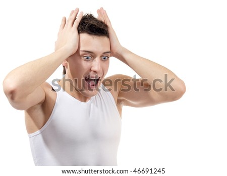 Portrait of scared male, isolated on white background
