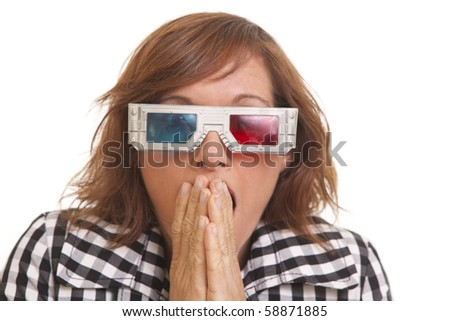 Portrait of scared young woman with 3D glasses - stock photo