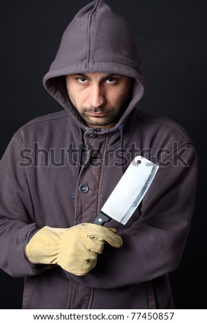 Portrait of scary man with cleaver