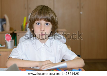 Portrait of schoolboy looking at camera at workplace with another children in classroom on background - stock photo