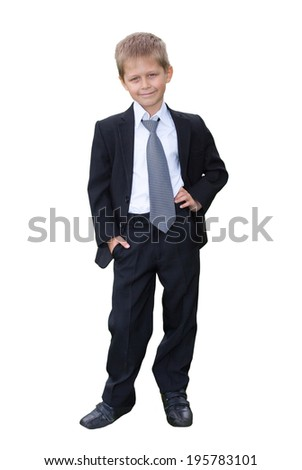 Portrait of schoolboy on white background