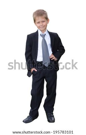 Portrait of schoolboy on white background - stock photo