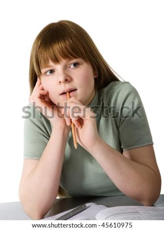 Portrait of schoolgirl - stock photo