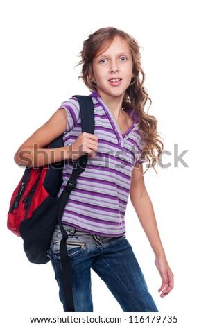 portrait of schoolgirl with knapsack. isolated on white background - stock photo