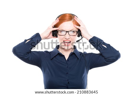 Portrait of screaming  support phone operator in headset, isolated on white background - stock photo