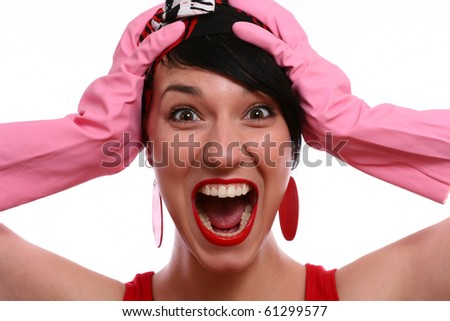 Portrait of screaming woman - stock photo