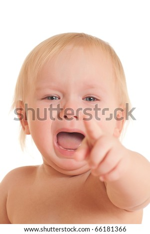Portrait of screaming young sitting baby pointing with hand - stock photo
