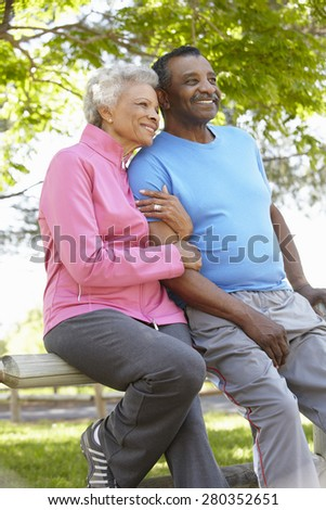Portrait Of Senior African American Couple Wearing Running Cloth - stock photo
