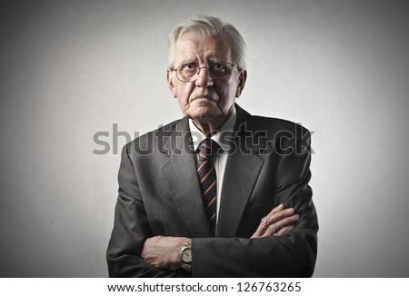 portrait of senior businessman - stock photo