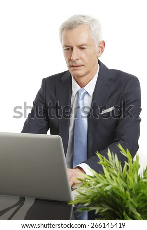 Portrait of senior businessman sitting in front of laptop while working on presentation at office. Isolated on white background. - stock photo