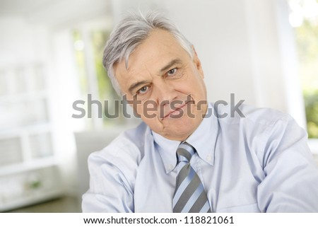 Portrait of senior businessman with serious look - stock photo