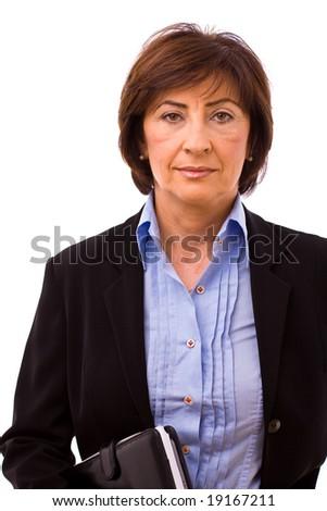 Portrait of senior businesswoman isolated on white background. - stock photo