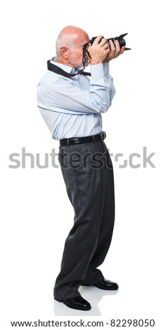 portrait of senior caucasian man with camera isolated on white
