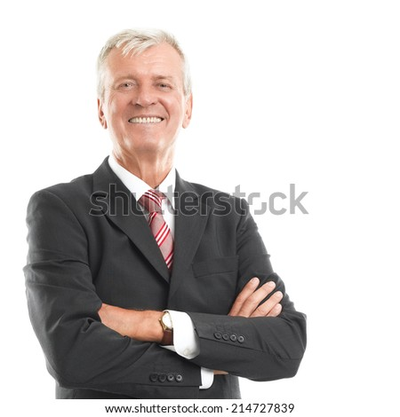 Portrait of senior chairman standing against white background. Business people. - stock photo