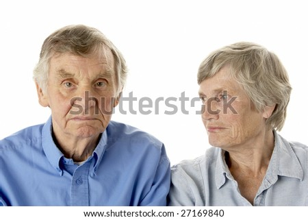 Portrait of senior couple - stock photo