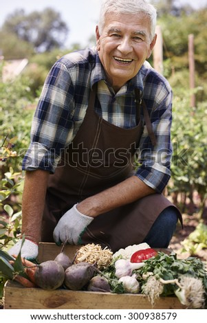 Portrait of senior farmer with organic vegetables  - stock photo