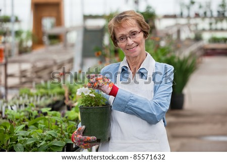 Portrait of senior female worker holding flower pot