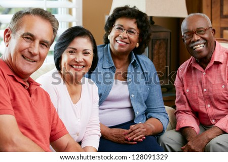 Portrait Of Senior Friends At Home Together - stock photo
