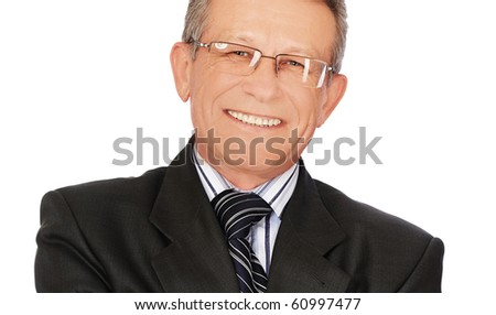 portrait of senior handsome businessman on white