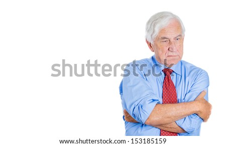 Portrait of senior mature, elderly man, executive, businessman, grandfather very sad, unhappy with some disgust on his face and disappointment with a conflict situation, isolated on white background - stock photo