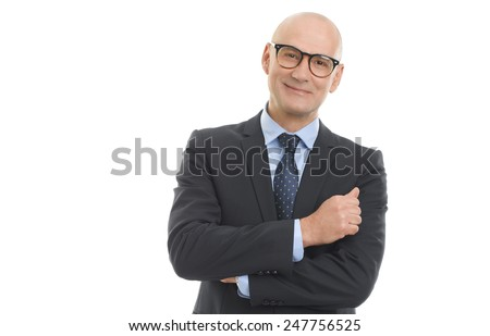 Portrait of senior sales man standing against white background.  - stock photo